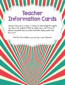 Teacher Information/Business Cards Bubblegum