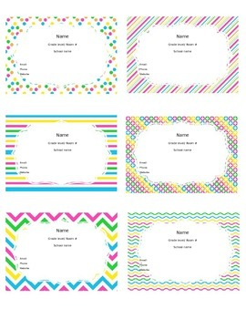 Teacher Information/Business Cards Neon