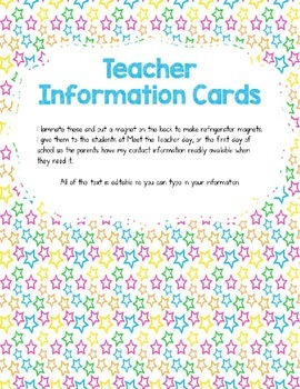 Teacher Information/Business Cards Neon
