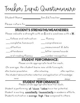 Teacher Input - For Special Educators