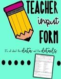 IEP Teacher Input Form - progress monitoring, progress reports - special ed.