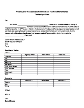 Teacher Input Form for IEP