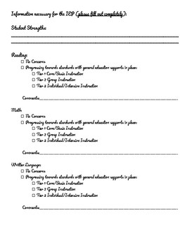 Teacher Input/Referral Form for Evaluation or IEP (Speech/Language Focused)