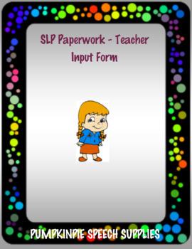 Teacher Input for Speech Students