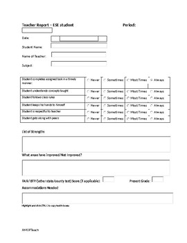Teacher Input form for ESE Students