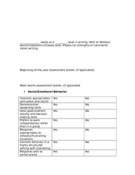 Teacher Input Form for IEP Present Levels of Peformance