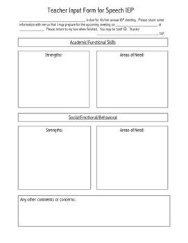 Teacher Input form for Speech IEPs