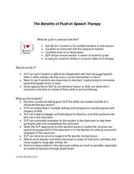 Teacher Inservice Push-In Speech Therapy Handout {Freebie}