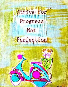 "Teacher Inspiration Poster Strive for Progress 8.5"" x 11"" Vespa Scooter Retro"