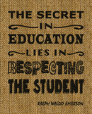 Education & Teacher Inspirational Quote Printed on Burlap Fabric