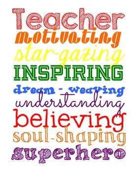 Teacher Inspirational Subway-Art Printable- Awesome gift for teachers!