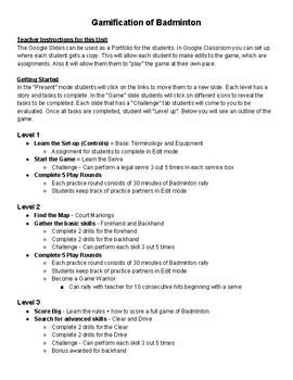 Badminton Battles - Teacher Instructions + Outline