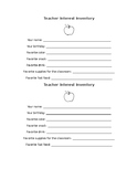 Teacher Interest Inventory