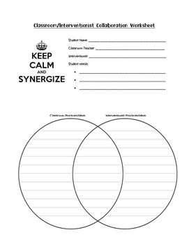 Teacher/Interventionist Collaboration Worksheet