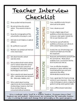 Teacher Interview Checklist