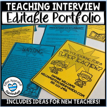 Editable Teaching Portfolio Cover Page Teacher Interview