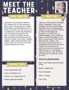 teacher introduction letter template blue with gold arrows