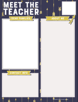 Teacher Introduction Letter Template   Blue with Gold Arrows | TpT
