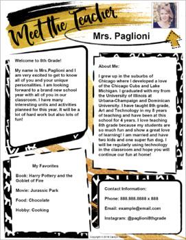 teacher introduction letter template gold black