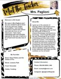 Teacher Introduction Letter Template - Gold & Black GOOGLE
