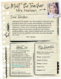 Teacher Introduction Letter Template - Notebook Paper (Goo