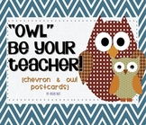 Back to School Postcards, Chevrons and Owls