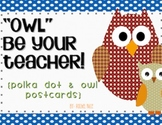 Back to School Postcards, Polka Dots and Owls