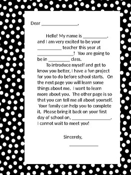 Teacher Introductory Letter and Student Interest Inventory