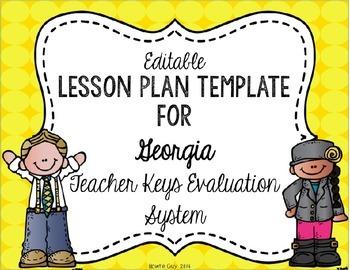 Teacher Keys Effectiveness System (TKES) Editable Lesson Plan Template