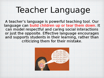 Teacher Language Power Point for Professional Development