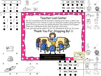 Teacher Led Center Work for Unit 1 Week 3 (-an words and I/We see the & I/We can