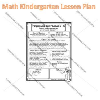 Teacher Lesson Plan 1.1: Count 1-5 Using Fingers & Ten Frames + Teaser Worksheet