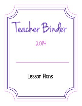 Teacher Lesson Plan Binder Cover