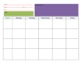 Teacher Lesson Plan Calendar