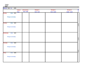Teacher Lesson Plan Template in Excel