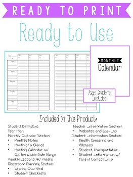 Teacher Lesson Planner - Black and White (January Start)