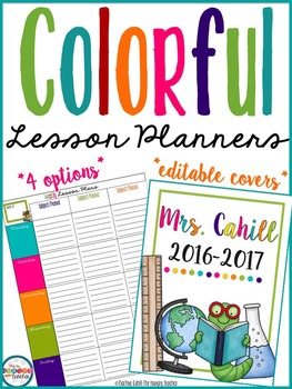 Teacher Binder Teacher Lesson Planner {Colorful} Editable Cover Pages