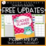 Teacher Binder Teacher Planner Free Updates Editable Owl Love Theme Sale 20% off