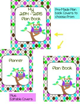 Lesson Plan Book and Organizer - Editable - Polka Dot and Owl Theme