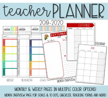 Teacher Lesson Planner with 2018-2019 Monthly Calendar