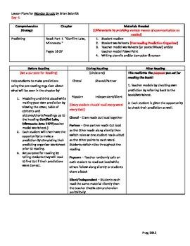 Wonderstruck Daily Lesson Plans