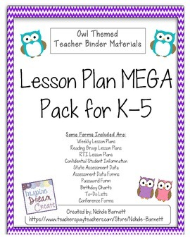 Teacher Lesson/Binder MEGA Pack K-5 (Owl Themed)