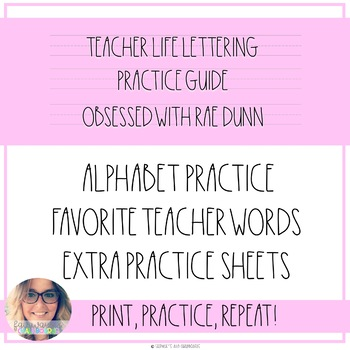 Teacher Life Lettering Practice Guide - Rae Dunn Inspired
