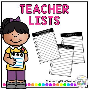 Teacher Lists EDITABLE