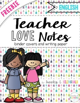 "FREEBIE ""Teacher Love Notes"" Binder Covers & Writing Templates {English}"