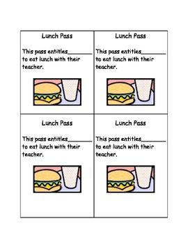 Teacher Lunch Pass
