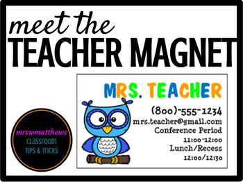 Teacher Magnet-Owl Theme **Editable**