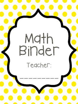 Teacher Math Binder