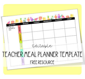 Teacher Meal Planner Ppt Template