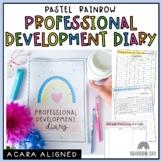 Teacher Meeting Diary | Professional Development Notes | Pastel Rainbow